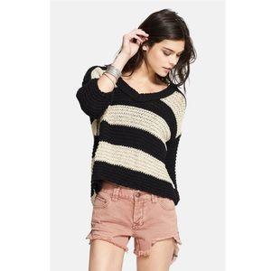 Free People Park Slope Black&Cream Stripe Sweater